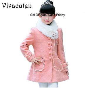 New Winter Girls Thicken Warm Coat Children Fur Collar Woolen Jackets Infant Kids Overcoats Teens Girls Clothes Outerwear H073