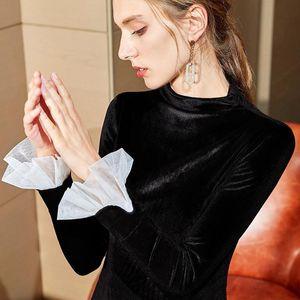 LCW 새로운 디자인 패션 여성의 겨울 슬림 캐주얼 파티 매력적인 스탠드 칼라 Sreathable Sfot 섹시한 빈티지 골드 벨벳 긴 소매 T 셔츠