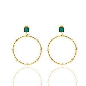 고급 보석 여성 디자이너 errings 금 말라카이트 후프 huggie 인 패션 귀걸이와 다이아몬드 쇄골 체인 보석 정장
