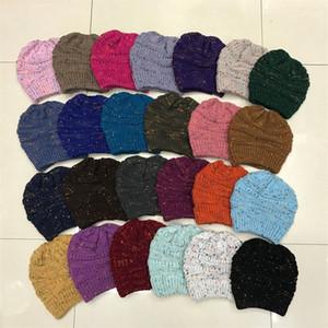 Moda Bayanlar Noktası İplik Renk İplik at kuyruğu Şapka Örme Yün Şapka Açık Sıcak Şapka