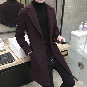 Windbreaker men's medium and long winter handsome 2020 new men's wool coat Korean version versatile cloth coat send scarf