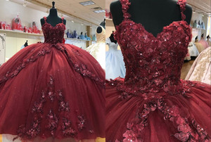 Sexy Burgundy African Flowers Quinceanera Prom dresses Ball Gown Bling Sequined with Straps Lace Tulle Evening Formal Gowns Plus size Cheap