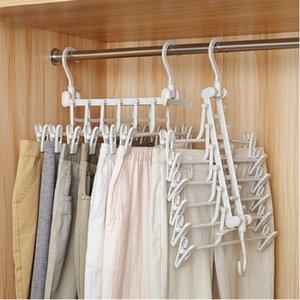 Pantalones plegables portátiles multifuncionales rack perchas con 12 clips organizador del armario Para lazo Bufanda choque de toallas ropa de jeans caliente T200605