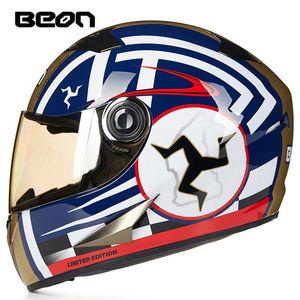 Beon Motosiklet Kaskı Tam Yüz Kask Casco Moto Capacete Motokros Casque Moto Vintage Yarışı Binme 500
