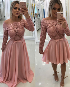 A Line Long Sleeves Prom Dresses With Detachable Train Vestidos de noite Lace 2 Piece Evening Gowns Dress robes de soirée
