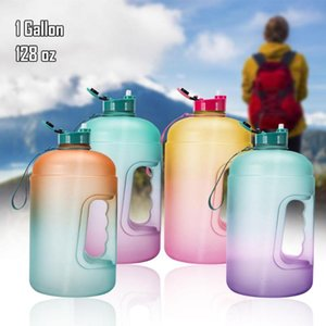 3.78L Wide-Mouth Water Bottle 1-Gallon Capacity with Straw Time Marker for Fitness, Workout, Outdoor Water Jug Big Bottle