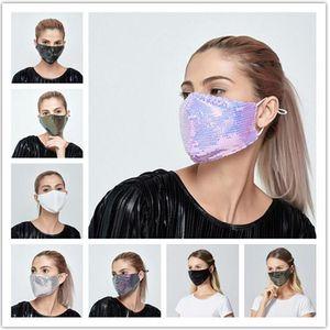 Mode 3D bling Lavable réutilisable PM2,5 Masque avec 2 filtres pare-soleil de couleur d'or Coude Paillettes Brillant Masque Visage de montage Couverture anti-poussière