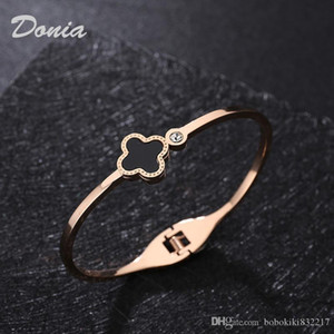 Donia jewelry lucky flower Rose Gold electroplating exaggerated micro setting zirconium titanium steel Adjustable Bracelet popular in Euro