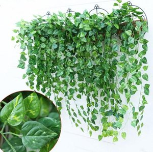 Hot Selling Green Artificial Vines Leaf Garland Silk Wisteria Vines Fake Foliage Flowers Home hanging plant Garden Wedding Decoration
