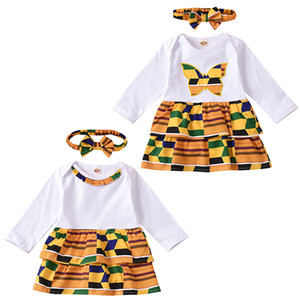 kids clothes Baby girls butterfly dress Children African style princess dresses with Bow headbands fashion Spring Autumn kids Clothing Z1539