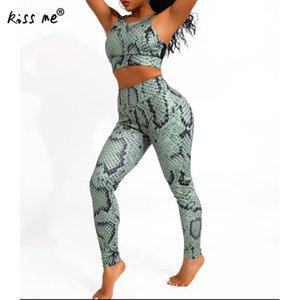 İki parçalı yılan derisi deseni spor elbise yoga seti spor + spor sutyeni spor kadın takım elbise kadın jimnastik spor tozluk giymek