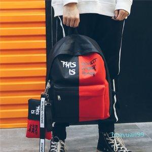 Borsa New-moda casuale di contrasto di colore Zaino Student Street Style tela di canapa zaino unisex lettera stampata scuola con la matita il sacchetto di trasporto