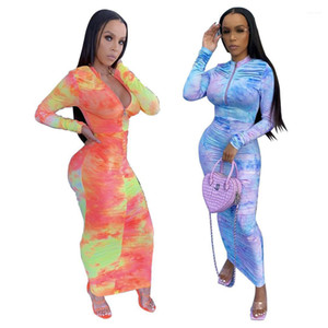 Robes 2020 Femmes Designer Robe Printemps Automne Tie Dye Imprimer manches longues Zipper taille moyenne Stacked