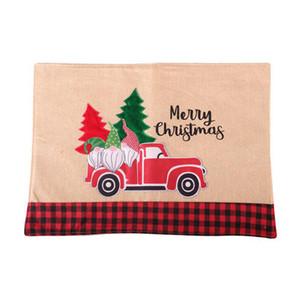 شجرة عيد الميلاد الأحمر شاحنة المفارش الجدول حصيرة الشتاء سانتا كلوز الجاموس منقوشة تحديد الموقع الطعام الرئيسية عيد الميلاد الديكور الجدول CYZ2814 400PCS