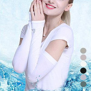 Hot Women Elasticity 1 Pair Cooling Arm Sleeves UV Cover Sun Protection Outdoor Opera Glove