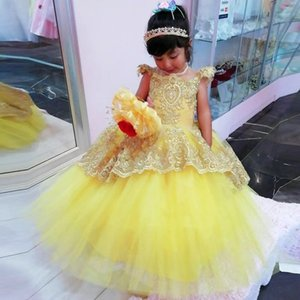 Yellow Flower Girl Dresses With Sheer Neck Cap Sleeve Appliques Beads Child Birthday Party Gowns Back Button Girls Pageant Dress
