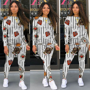 Luxurys Women Autumn Tracksuit Designers Fashion Print Cartoon Hoodies Pullovers Tops Legging Pants Two Pieces Outfits Sportswear D9106