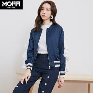 Rm7v9 MOFFI uniforme casaco curto terno baseball babados coreano New costura Outono terno azul baseball solta manga longa para as mulheres