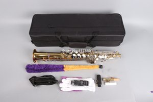 New Arrival Soprano Saxophone B Flat Gold Lacquer Body Straight Neck Musical instruments with Accessories Free Shipping