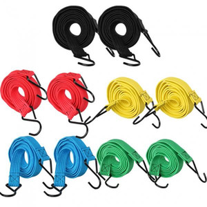 10pcs Elastic Bungee Ropes Flat Luggage Straps With Hooks For Bike Roof Rack