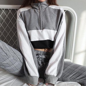 New Fashion womens Hoodies Autumn Turtleneck Women Patchwork Long Sleeve Pullovers t shirt Drop Shipping Good Quality