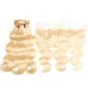 H Peruvian Virgin Hair Straight Body Wave With 13 *4 Ear To Ear Lace Frontal With Baby Hair 613 Blond Hair Bundles With Lace Closure