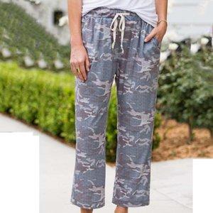 Осень Camo пижамные штаны Главная Одежда Повседневный Напечатанные кальсон пижам пижамы Сыпучие теленок Длина Женская Главная Femme Pantalon