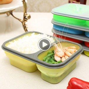 Şile Katlanır Taşınabilir Bento Box 2 Mikrodalga Fırın Bowl Katlama Gıda Saklama Öğle Konteyner beslenme çantası 60pcs OOA2172 Lls