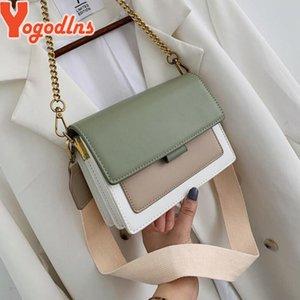 Yogodlns Kontrastfarbe Leder Crossbody Beutel für Frauen Reisehandtasche Fashion Einfache Schulter Messenger Bag Lady Umhängetasche Tasche CX200529