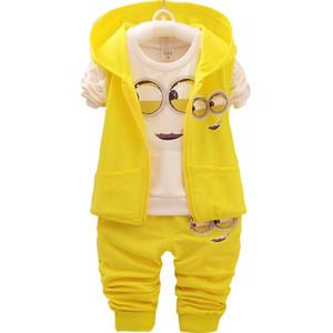 Детские Для девочек Для мальчиков Minions Одежда наборы детей новой весны и осени мультфильм хлопка костюм с капюшоном жилет + майка + брюки одежды Set X0923