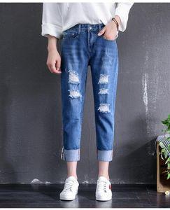 Large Size Boyfriend-Jeans für Frauen Fat Ripped Cuffs Mutter Jeans Femme plus lose gerade Denim-Nine Hosen 4xL 5Xl
