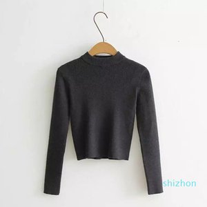 Hot Sale Soft Cropped Jumper Spring Autumn Black Sweater Women Pullovers Basic Knitwear Rib Funnel Neck Crop Sweaters