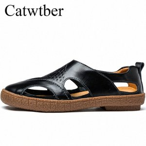 Catwtber Luxury Leather Summer Beach Male Shoes Adult For Men Sandals Casual Collision Avoidance Classic Water Walking Sandalias BSqd#