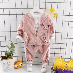 Pure cotton autumn and winter baby boy girl kid cartoon bear coat letter long sleeve + pants children casual clothes three-piece