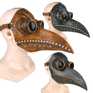 Funny Medieval Steampunk Plague Doctor Bird Mask Latex Punk Cosplay Masks Beak Adult Halloween Event Cosplay Props CX200817