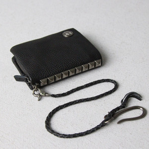 Fashion Bag Money Genuine Leather Around Money Black Wallet Short Leather Male Wallet Purse Chain Clips Skull Rivet Zip Mens Tlcfh