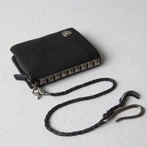 Wallet Wallet Chain Leather Skull Leather Genuine Money Rivet Short Zip Iwbaf Male Black Mens Clips Fashion Money Bag Purse Around Ubqxx