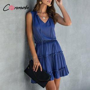 Conmoto babados curtas espaguete Strap mangas mulheres babados mais senhoras tamanho do vestido casuais de alta moda sólidos vestidos vestidos