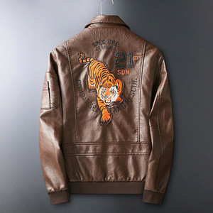 caminhão 2020 jaqueta de couro da motocicleta dos homens moda PU jaqueta de couro tigre macho cabeça bordados lapela casaco marrom outono dos homens europeus