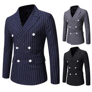 Mens rayé à double boutonnage Blazers Neck Slim Fit Lapel Costume de poche Homme d'affaires Bureau Costume