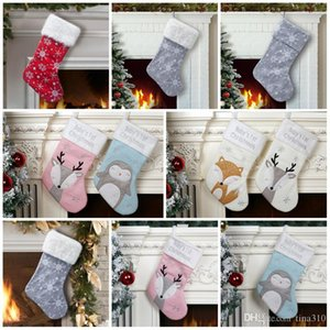 Hot selling Christmas Stocking Christmas party Decoration Xmas kids candy bags Cute fox Penguin Xmas socks kids party favor gift T9I00503