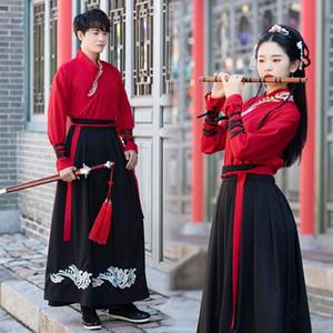 3OYCS 35KAE 5972 HANFU Vestido bordado Cuello Cross-Colllar vestido de manga larga Daily Arts Martial Arts Style Pareja Use un traje rojo CP negro y