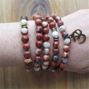 Armband 6mm Fancy 108 Perle rot 3D Edelstein Heißer Anhänger Spiritualität Jasper Handmade Unisex Heilung Mala Natürlich Glücklicher Chakas Tigmu