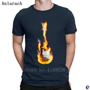 Flaming Guitar tshirt Costume New Arrival HipHop Top Designing men's tshirt Crew Neck Outfit hilarious summer