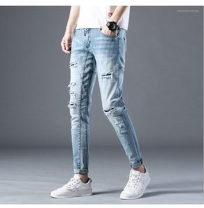 Moda Zipper Fly Pencil Pants Mens Distrressed jeans stretch Blue Light Mid calças compridas Mens Jeans