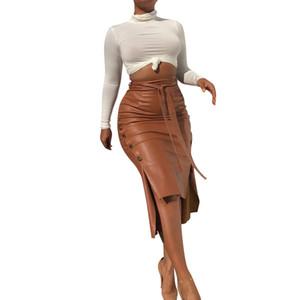 Femmes en cuir PU Mode Jupes moderne Jupe crayon Longueur genou Skinny Robe moulante côté Renversé design Jupes OL Vêtements