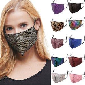 Salon Masque Fashion Lady BlingBling Sequin Paillette Designer de luxe Masque lavable réutilisable adulte femme protection réglable