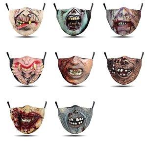 هالوين أقنعة الرعب أقنعة هالوين تأثيري بدلة ارتداء طقم أسنان حماية مضحك أقنعة واقية من الغبار التي يمكن غسلها مرارا وتكرارا