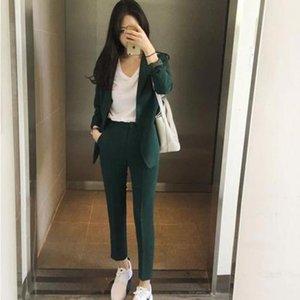 Новые 2019 Весна Осень корейский костюм Set Женщины с длинными рукавами Тонкий Blazer + брюки костюм дамы Офис Wear Работа Outfit Повседневная одежда T200810