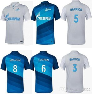 Nouveau 20 21 FC Zenit Saint-Pétersbourg Soccer Jersey Home Away Blue Gris Malcom Lovren 2020 2021 Santos Barrios Football Shirt Maillots de pied